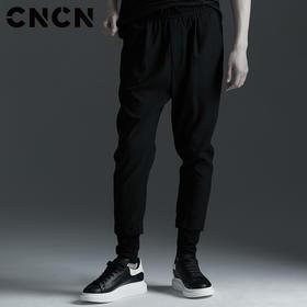 CNCN男装 新品男士休闲裤 黑色青年修身束脚裤潮牌裤子CNBK19028