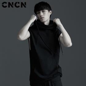 CNCN男装 夏季新款无袖背心T恤 LOGO个性印花暗黑背心 CNBT20904