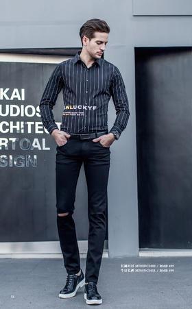 长袖衬衫:M702DC1082¥499; 牛仔长裤:M701NC1011¥599