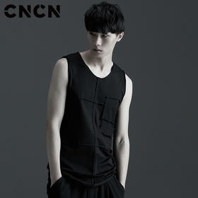 CNCN男装 夏季黑色清凉背心 男士夏天汗衫汗背心CNBB29051