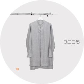 长款立领衬衣-带贴布绣