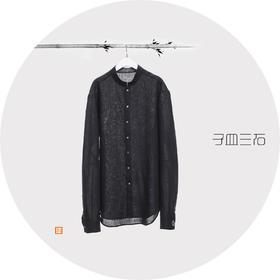 子皿三石 设计师原创 新中式男装 如意黑色大麻立领衬衣