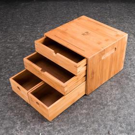 三层普洱茶盒仓普洱茶棉麻布茶 竹茶盒茶仓茶具配件白茶盒茶具