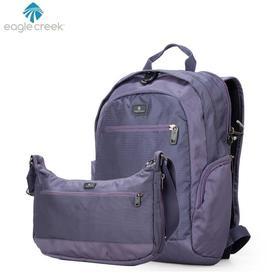 F 美国eaglecreek 紫色休闲双肩包 单肩包套装