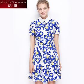 【骆驼子品牌-小虫】小虫女装夏季新款时尚数码印花清新高腰修身雪纺连衣裙女X5ALY0009