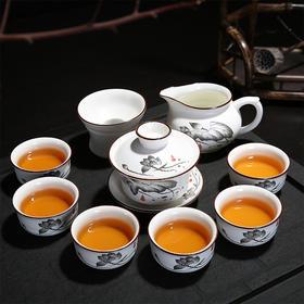 手绘荷韵牡丹10头茶具功夫茶具套组礼盒包装 陶瓷中式复古家用6人简约盖碗组合