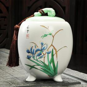 三角定窑兰花茶叶罐 手工存茶醒茶密封罐 普洱罐 茶叶缸茶盒 储茶罐