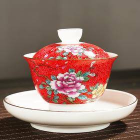 扒花盖碗陶瓷青花瓷白瓷盖碗喝茶盖碗泡茶杯三才盖碗茶碗盖杯茶具配件