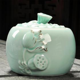 青瓷描金荷韵粉青茶叶罐 手工存茶醒茶密封罐 普洱罐 茶叶缸茶盒 储茶罐