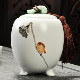 三角定窑莲蓬茶叶罐 手工存茶醒茶密封罐 普洱罐 茶叶缸茶盒 储茶罐