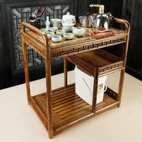 香自吟鸡翅木茶车茶边柜茶柜整套茶具套组紫砂哥窑汝窑茶具套组