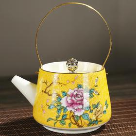 扒花提梁茶壶仿古提梁壶创意功夫茶具粗陶凉水壶日式普洱壶泡茶单壶 陶瓷茶壶