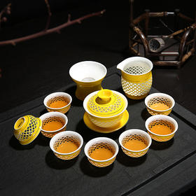玲珑蜂窝色釉盖碗12头茶具套组功夫茶具 陶瓷中式复古家用8人简约盖碗组合