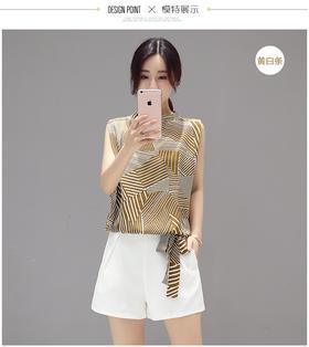 【美货】夏季休闲时尚套装雪纺衫女无袖显瘦超短裤两件套潮女名媛气质