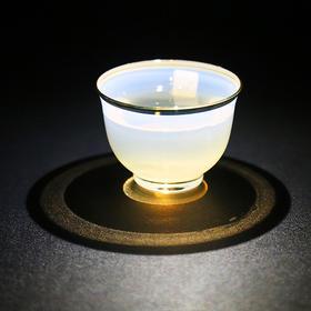 主人杯玻璃小茶杯创意功夫茶具品茗杯茶道配件茶盏单杯高硼硅耐热玻璃人工吹制雾化揽月杯