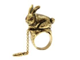 萌趣兔子萝卜戒指