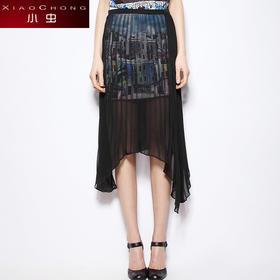 【骆驼子品牌-小虫】小虫秋装新款半身裙女两件套不对称中长百褶裙抽象印花女X5BBQ0180