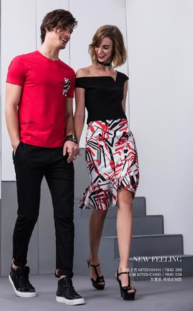 短袖上衣:M705VA1414¥399; 长裤:M705HC1400¥539; 女套装:高级定制款——
