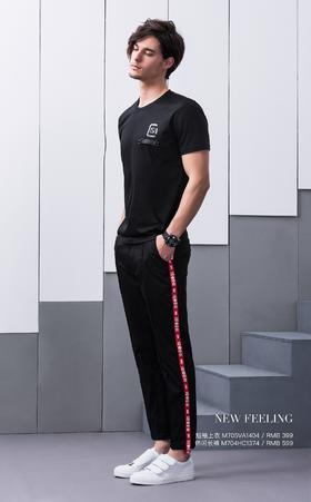 短袖上衣:M705VA1404¥399; 休闲长裤:M704HC1374¥599