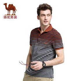 骆驼牌男装 夏季新品时尚商务休闲纯棉条纹翻领短袖t恤Polo衫SB7394054