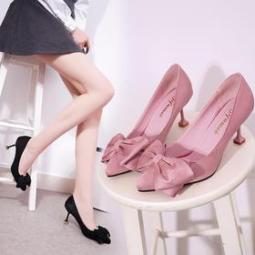 【美货】细跟单鞋女春季新款尖头浅口蝴蝶结中跟高跟黑色工作职业女鞋