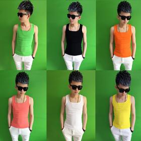 【美货】夏季快手红人同款纯色修身型背心男社会精神小伙韩版潮紧身男汗衫