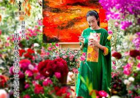 杨丽萍艺术2017春季同款 原创民族风印花刺绣棉麻大摆连衣裙
