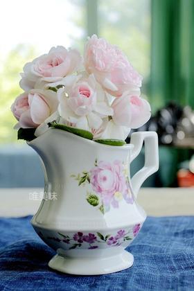 外贸陶瓷花卉奶壶水壶小花器摆件 餐桌布置