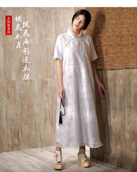 杨丽萍艺术2017夏款原创复古文艺提花盘扣真丝拼接立领连衣裙