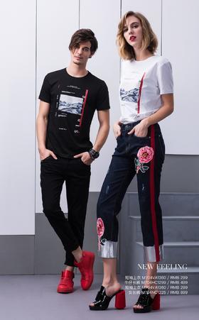 短袖上衣:M704VA1360¥299 ;牛仔长裤:M704HC1299¥499