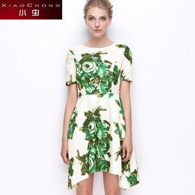 【骆驼子品牌--小虫】小虫夏季新款欧美时尚短袖印花连衣裙女显瘦圆领套头短裙女X5ALY0004