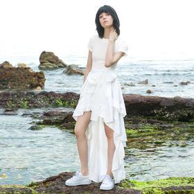 SYUSYUHAN设计师品牌 圆领前短后长荷叶摆拼接收腰唯美礼服连衣裙