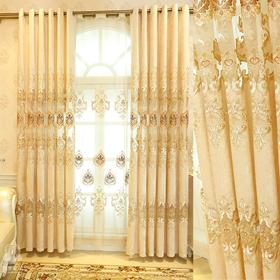 镜中缘 米色欧式雪尼尔绣花窗帘