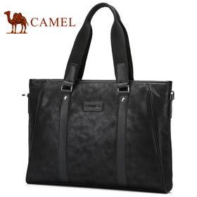 【领券买 更划算】Camel/骆驼男包 春季新款男士手提包休闲单肩斜挎包男公文包包MB157038-01
