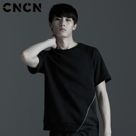 【大码定制款】CNCN男装 夏季新款男士侧边拉链T恤 男修身圆领体恤 CNBT29042