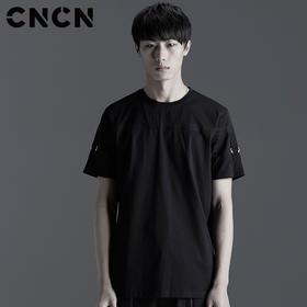 CNCN男装 2017夏季新款男士修身潮流T恤 男个性肩带体恤CNBT20917