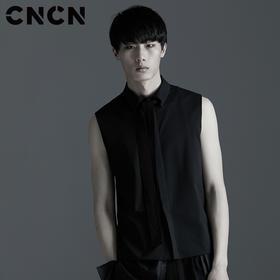 CNCN男装 夏季无袖套头T恤 男修身翻领时尚T恤衫 背心CNBG29053