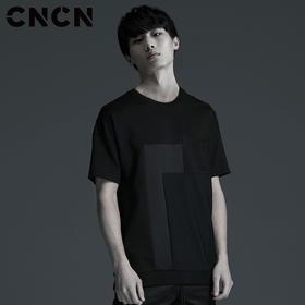 CNCN男装 夏季新款拼接修身T恤 个性可拆卸肩扣T恤 CNBT20914