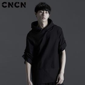 CNCN男装 春夏新品连帽拉绳T血 舒适透气休闲t恤 CNBT10913