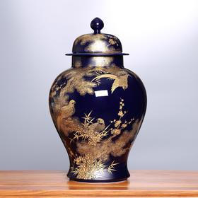 锦春纳福·霁蓝黄金将军罐