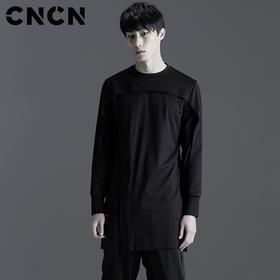 CNCN男装 春新款暗黑长款圆领T恤 男士修身潮流t恤 男T CNBT19010