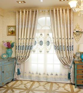 绳绣贴绒蓝色欧式客厅卧室绣花窗帘