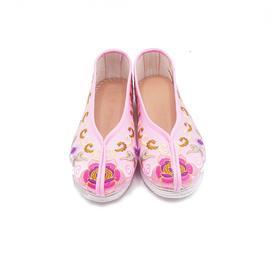 手工女鞋 绸缎绣花老北京千层底单鞋粉色