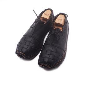 手工男鞋 纯黑棉麻草编防滑单鞋