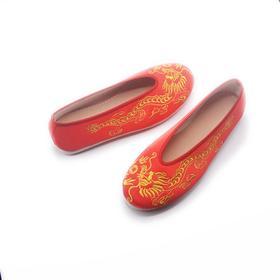 手工情侣鞋 春秀禾中式婚礼凤凰图腾千层底单鞋