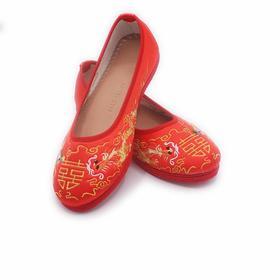 手工女鞋 绸缎绣花老北京千层底单鞋红色
