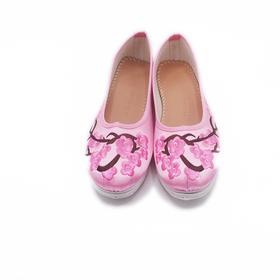 手工女鞋 绸缎绣花老北京千层底单鞋粉色梅花
