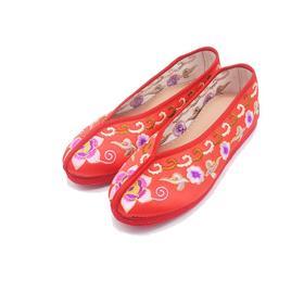 手工女鞋 绸缎绣花老北京千层底单鞋红色喜庆