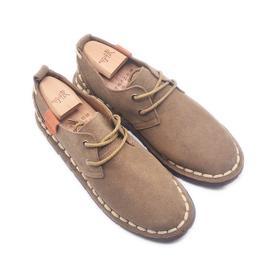 手工男鞋 真皮裁缝线低帮系带鞋