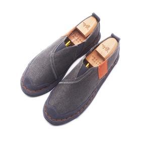手工男鞋 牛皮立体缝制系带软底休闲鞋